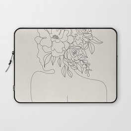 Woman with Flowers Minimal Line I Laptop Sleeve