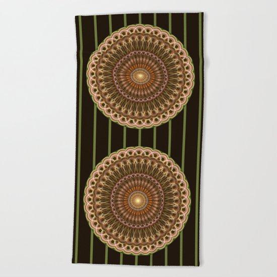 Patterns mandala in earth tones Beach Towel