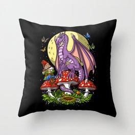 Magic Mushrooms Dragon Throw Pillow