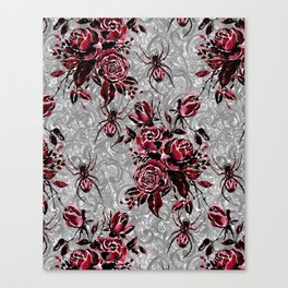 Vintage Roses and Spiders on Lace Halloweeen Watercolor Canvas Print