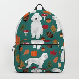 Poodle fall autumn leaves acorns pinecones cute standard white poodles Backpack