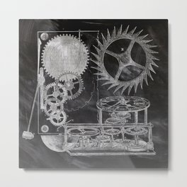 black and white vintage patent print chalkboard steampunk clock gear Metal Print