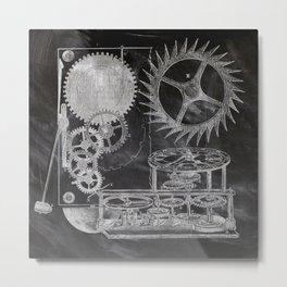 black and white vintage patent print chalkboard steampunk clock gear Metal Print