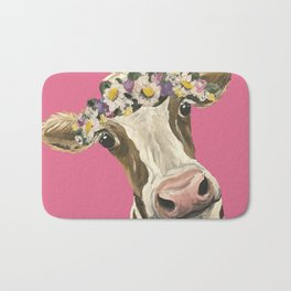 Cute Cow Art, Colorful Flower Crown Cow Art Bath Mat
