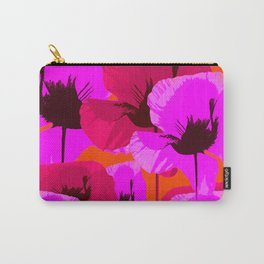 Pink And Red Poppies On A Orange Background - Summer Juicy Color Palette - Retro Mood Carry-All Pouch