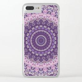 Purple Lace Mandala Clear iPhone Case