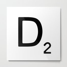 Letter D - Custom Scrabble Letter Wall Art - Scrabble D Metal Print