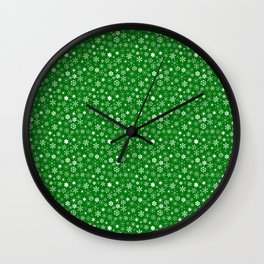 Evergreen Green & White Christmas Snowflakes Wall Clock