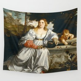 """Titian (Tiziano Vecelli) """"Sacred and Profane Love"""" (1), 1515-1516 Wall Tapestry"""