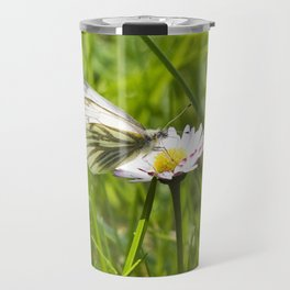 WHITE BUTTERFLY on COMMON DAISY Travel Mug