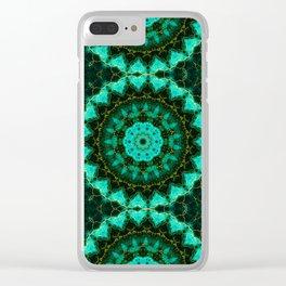 Malachite and gold  Kaleidoscope  Mandala Clear iPhone Case
