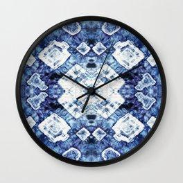 Blue Silk Tie-Dye Wall Clock
