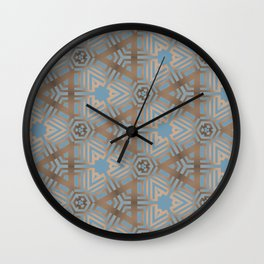 Beige and Blue Contemporary Tribal Pattern Wall Clock
