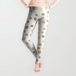 White & Golden Dots Leggings