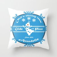 pivot Throw Pillows featuring Olaf's skating Team by Une Belle Pagaille