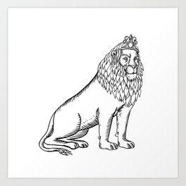 Etching style illustration of a blue male lion with red mane wearing a tiara or crown sitting down d Art Print