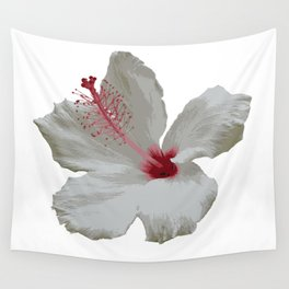 Pure White Hibiscus Tropical Flower Wall Tapestry