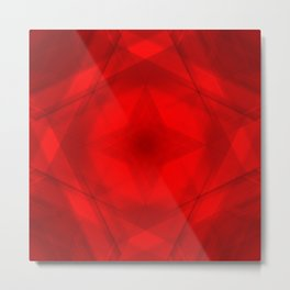 Scalding triangular strokes of intersecting sharp lines with red triangles and a star. Metal Print