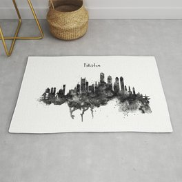 Boston Skyline Black and White Rug