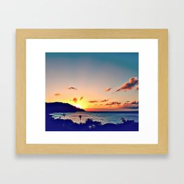 Caribbean Sunset Airbrush Artwork Framed Art Print