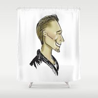 sweater Shower Curtains featuring Hiddles Sweater by Rowena Leavy