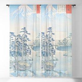 13,000px,500dpi-Kobayashi Kiyochika - Sketches of the Famous Sights of Japan - Tagonoura - Digital Remastered Edition Sheer Curtain
