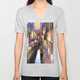 Sunset Alley In Venice Italy Unisex V-Neck
