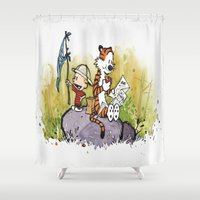 calvin Shower Curtains featuring Calvin n hobbes by TEUFEL_STRITT666
