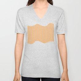 Etoide Jingga Orange Black Stripes Unisex V-Neck