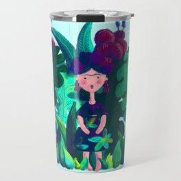Floral Jungle Frida Kahlo Colorful Illustratration Travel Mug