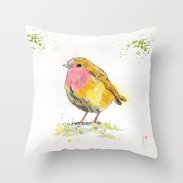 Little Colorful Yellow Bird Throw Pillow