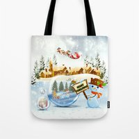 merry christmas Tote Bags featuring Merry Christmas by Looly Elzayat
