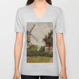 Windmill At Knokke Belgium 1894 By Camille Pissarro | Reproduction | Impressionism Painter Unisex V-Neck