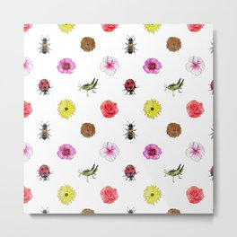 Bugs and Florals Metal Print