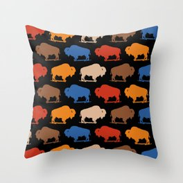 Colorful Buffalo Bison Pattern 277 Throw Pillow