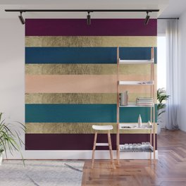 Geometrical coral navy blue burgundy gold watercolor Wall Mural