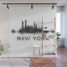 NY New York City Skyline NYC Black-White Watercolor art Wall Mural