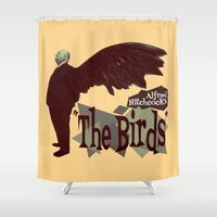 hitchcock Shower Curtains featuring Alfred Hitchcock  |  The Birds by Silvio Ledbetter
