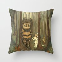 wild things Throw Pillows featuring Wild Things  by thepoppytree