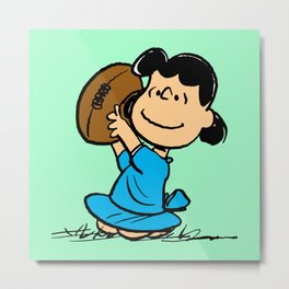 Lucy van Pelt throwing baseball Metal Print
