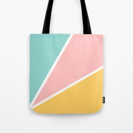Tropical summer pastel pink turquoise yellow color block geometric pattern Tote Bag