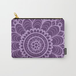 Lavender Dreams Flower Medallion - Medium with Light Outline Carry-All Pouch