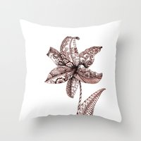henna Throw Pillows featuring Henna Lily by Elisa Camera
