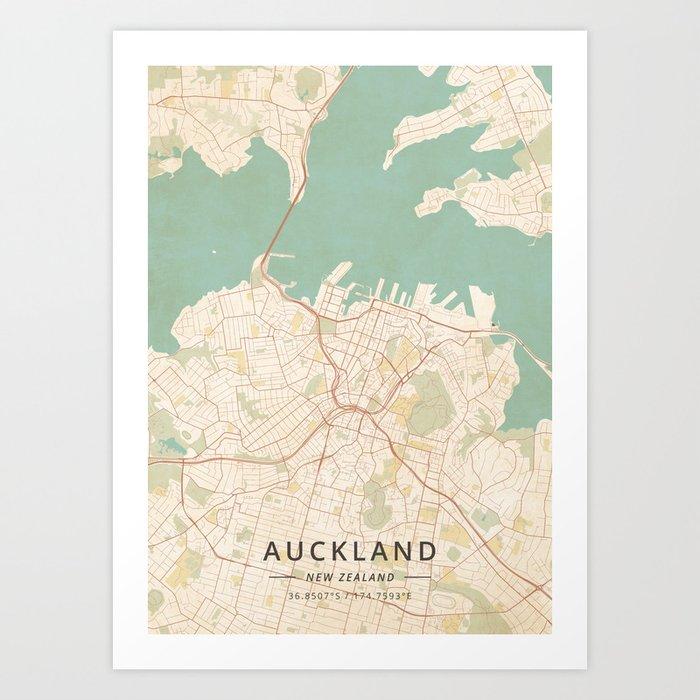 Auckland, New Zealand - Vintage Map Art Print by designermapart