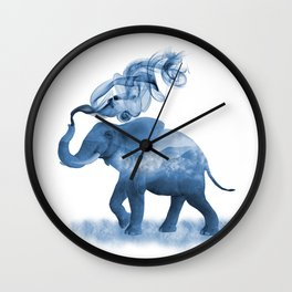 Blue Smoky Clouded Elephant Wall Clock