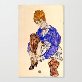 "Egon Schiele ""Portrait of the Artist's Wife Seated, Holding Her Right Leg"" Canvas Print"