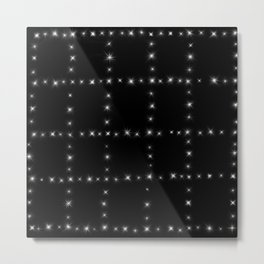 Black and White - Stars in Squares Metal Print