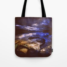 Magical Mountain Lake Golden Indigo Tote Bag