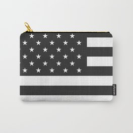 American Flag Stars and Stripes Black White Carry-All Pouch