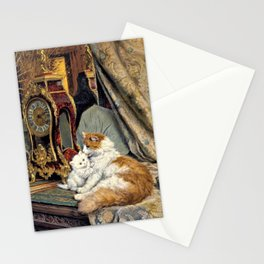 Clock, Mother Cat And Kitten - Digital Remastered Edition Stationery Cards